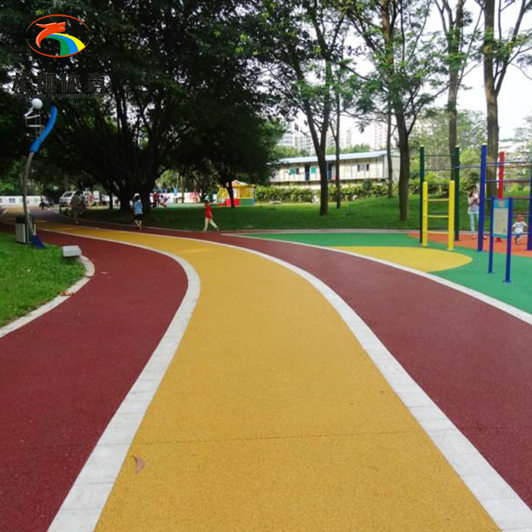 Colored permeable floor material